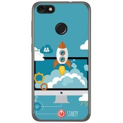 Funda Gel Tpu para Huawei Y6 Pro 2017 / P9 Lite Mini Diseño Cohete Dibujos