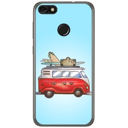 Funda Gel Tpu para Huawei Y6 Pro 2017 / P9 Lite Mini Diseño Furgoneta Dibujos