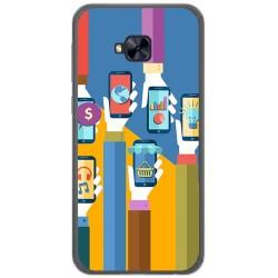 Funda Gel Tpu para Asus Zenfone 4 Selfie Pro Zd552Kl Diseño Apps Dibujos