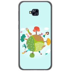 Funda Gel Tpu para Asus Zenfone 4 Selfie Pro Zd552Kl Diseño Familia Dibujos