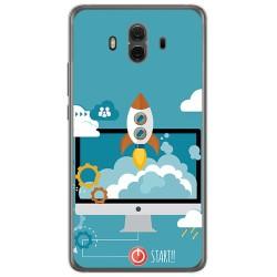 Funda Gel Tpu para Huawei Mate 10 Diseño Cohete Dibujos