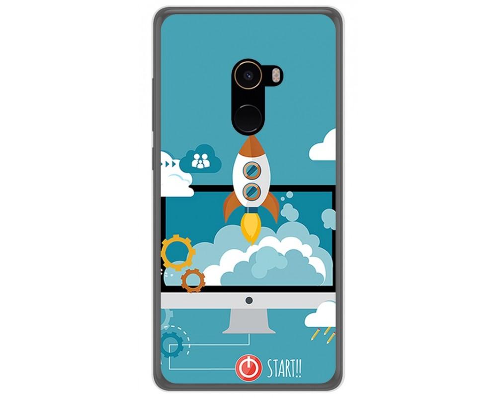 Funda Gel Tpu para Xiaomi Mi Mix 2 Diseño Cohete Dibujos
