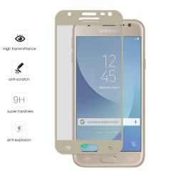 Protector Cristal Templado Frontal Completo 5D Curvo Dorado para Samsung Galaxy J3 (2017) Vidrio