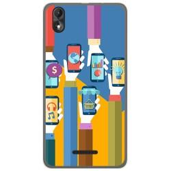 Funda Gel Tpu para Wiko Lenny4 Plus Diseño Apps Dibujos
