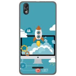 Funda Gel Tpu para Wiko Lenny4 Plus Diseño Cohete Dibujos