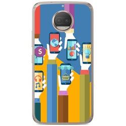 Funda Gel Tpu para Motorola Moto G5S Plus Diseño Apps Dibujos