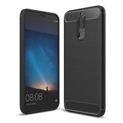 Funda Gel Tpu Tipo Carbon Negra para Huawei Mate 10 Lite