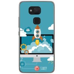 Funda Gel Tpu para Bq Aquaris V Plus / Vs Plus Diseño Cohete Dibujos