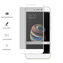 "Protector Cristal Templado Frontal Completo Blanco para Xiaomi Redmi 5A 5"" Vidrio"