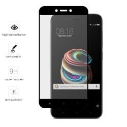 "Protector Cristal Templado Frontal Completo Negro para Xiaomi Redmi 5A 5"" Vidrio"
