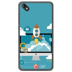 Funda Gel Tpu para Wiko Sunny 2 Plus Diseño Cohete Dibujos