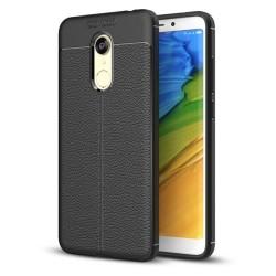 Funda Gel Tpu Tipo Piel Negra para Xiaomi Redmi 5 Plus