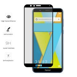 Protector Cristal Templado Frontal Completo Negro para Huawei Honor 7X Vidrio