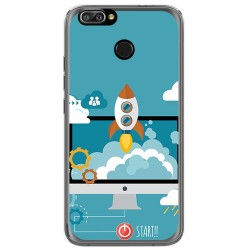 Funda Gel Tpu para Oukitel U22 Diseño Cohete Dibujos