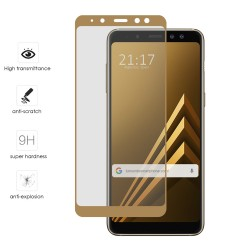 Protector Cristal Templado Frontal Completo Dorado para Samsung Galaxy A8 (2018) Vidrio