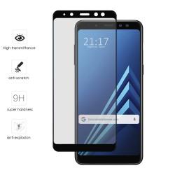 Protector Cristal Templado Frontal Completo Negro para Samsung Galaxy A8 (2018) Vidrio