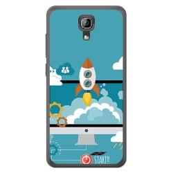 Funda Gel Tpu para Homtom HT26 Diseño Cohete Dibujos