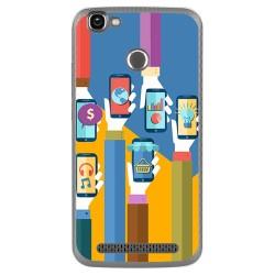 Funda Gel Tpu para Homtom HT50 Diseño Apps Dibujos