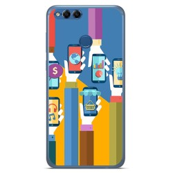 Funda Gel Tpu para Huawei Honor 7X Diseño Apps Dibujos