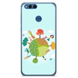 Funda Gel Tpu para Huawei Honor 7X Diseño Familia Dibujos