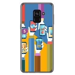 Funda Gel Tpu para Samsung Galaxy A8 (2018) Diseño Apps Dibujos