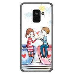 Funda Gel Tpu para Samsung Galaxy A8 (2018) Diseño Cafe Dibujos