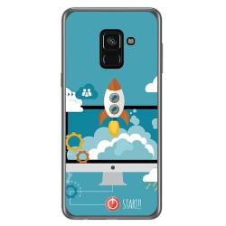 Funda Gel Tpu para Samsung Galaxy A8 (2018) Diseño Cohete Dibujos