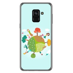 Funda Gel Tpu para Samsung Galaxy A8 (2018) Diseño Familia Dibujos