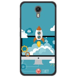 Funda Gel Tpu para Ulefone Power 2 Diseño Cohete Dibujos
