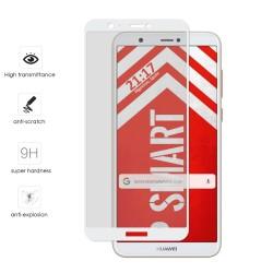 Protector Cristal Templado Frontal Completo Blanco para Huawei P Smart Vidrio