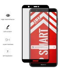 Protector Cristal Templado Frontal Completo Negro para Huawei P Smart Vidrio