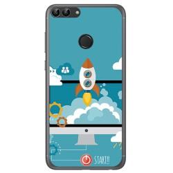 Funda Gel Tpu para Huawei P Smart Diseño Cohete Dibujos