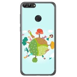 Funda Gel Tpu para Huawei P Smart Diseño Familia Dibujos