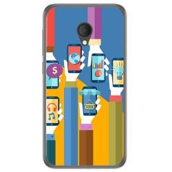 Funda Gel Tpu para Alcatel U5 Hd / U5 Hd Premium Diseño Apps Dibujos