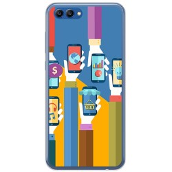 Funda Gel Tpu para Huawei Honor View 10 Diseño Apps Dibujos