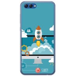 Funda Gel Tpu para Huawei Honor View 10 Diseño Cohete Dibujos