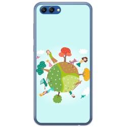 Funda Gel Tpu para Huawei Honor View 10 Diseño Familia Dibujos
