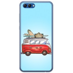 Funda Gel Tpu para Huawei Honor View 10 Diseño Furgoneta Dibujos
