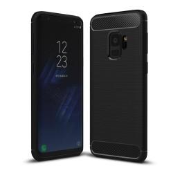 Funda Gel Tpu Tipo Carbon Negra para Samsung Galaxy S9