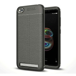 "Funda Gel Tpu Tipo Piel Negra para Xiaomi Redmi 5A 5"""