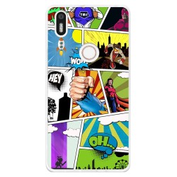 Funda Gel Tpu para Bq Aquaris X5 Plus Diseño Comic Dibujos