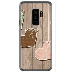Funda Gel Tpu para Samsung Galaxy S9 Plus Diseño Corazones Madera Dibujos