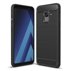 Funda Gel Tpu Tipo Carbon Negra para Samsung Galaxy A8 (2018)