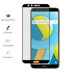 Protector Cristal Templado Frontal Completo Negro para Huawei Honor 9 Lite Vidrio