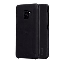 Funda Piel Flip Negra Marca Lenuo para Samsung Galaxy A8 (2018)