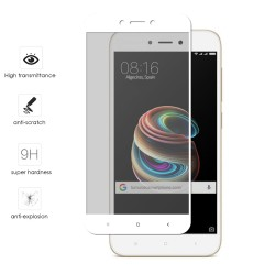 "Protector Cristal Templado Completo Full Glue Blanco para Xiaomi Redmi 5A 5"" Vidrio"