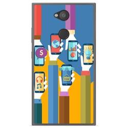 Funda Gel Tpu para Sony Xperia L2 Diseño Apps Dibujos