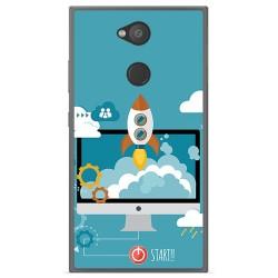 Funda Gel Tpu para Sony Xperia L2 Diseño Cohete Dibujos