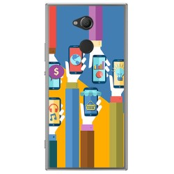 Funda Gel Tpu para Sony Xperia XA2 Diseño Apps Dibujos