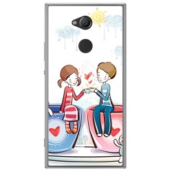 Funda Gel Tpu para Sony Xperia XA2 Diseño Cafe Dibujos